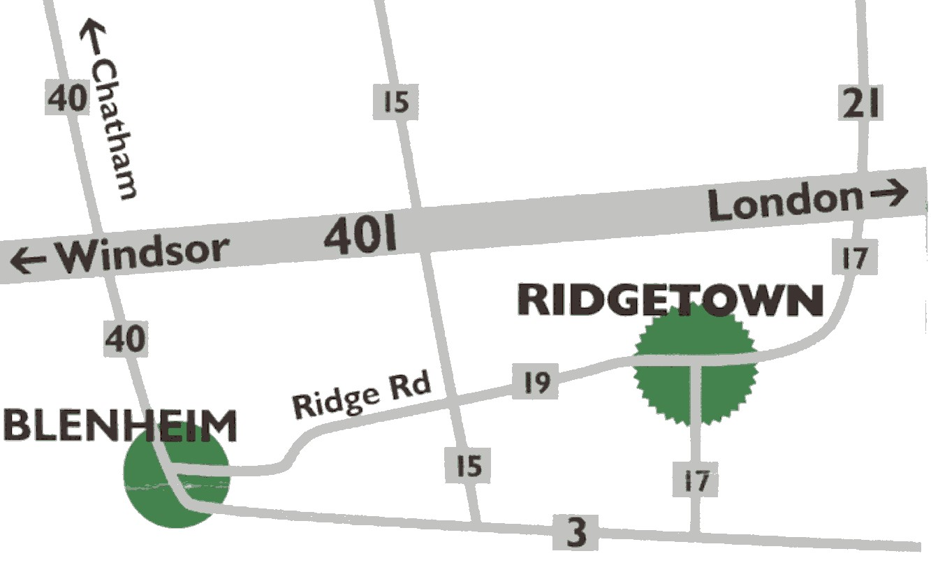 Map showing driving route o University of Guelph Ridgetown Campus