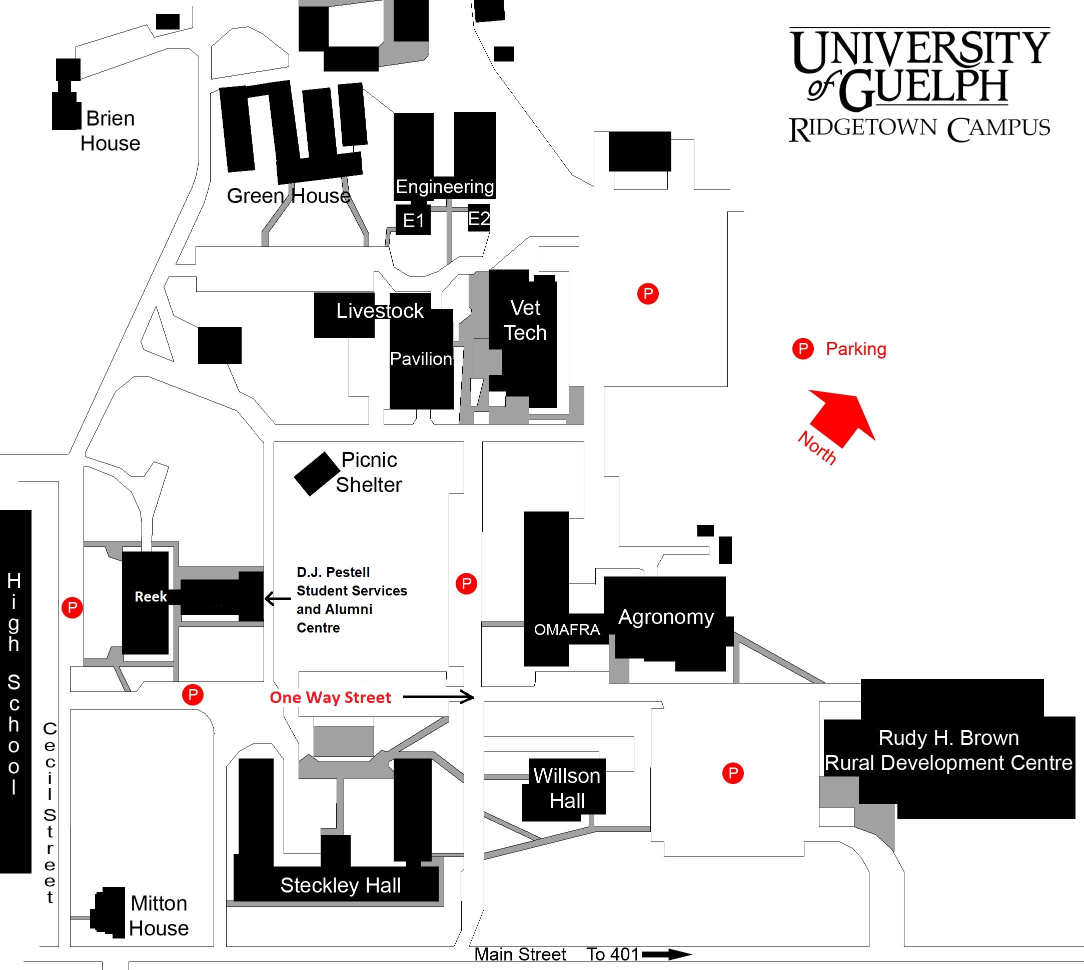 Map of the Ridgetown Campus